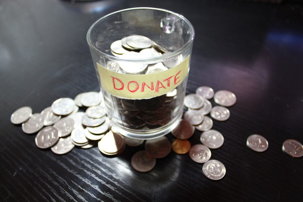 money, coins, donate