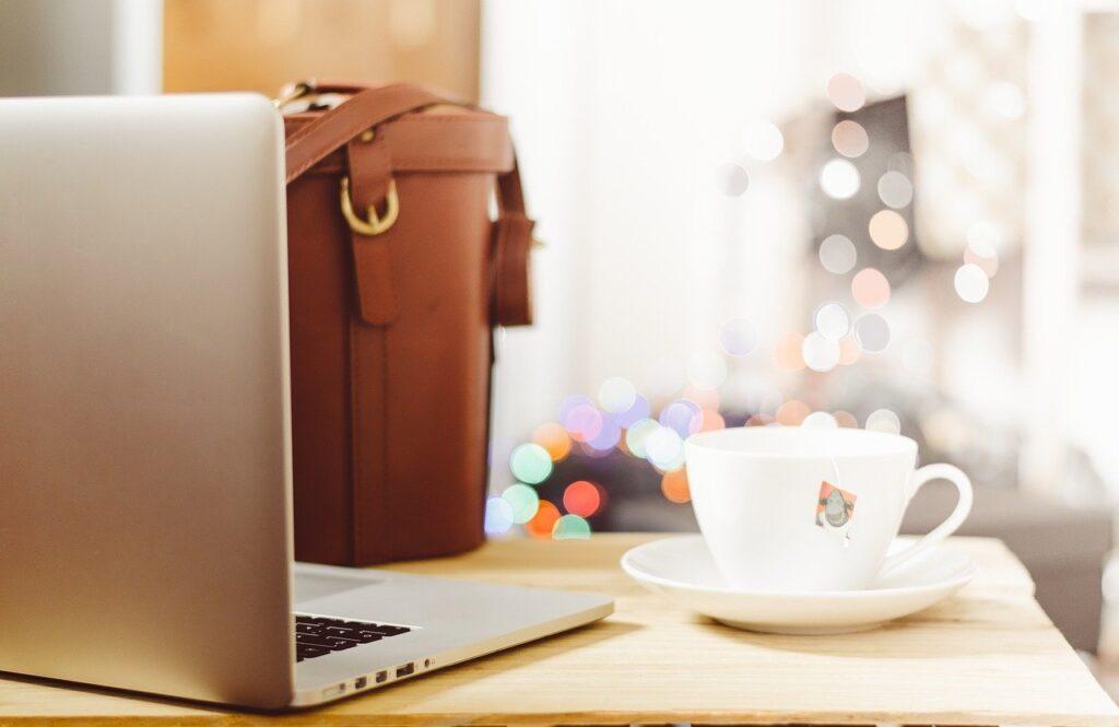 desk, table, laptop