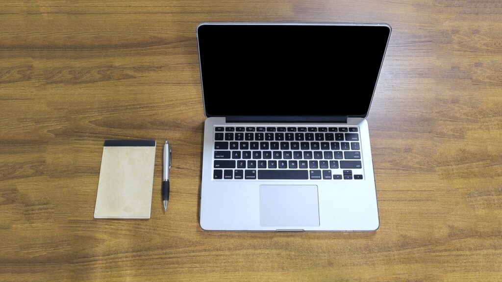 macbook pro, desk, table
